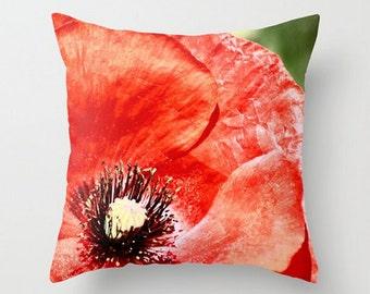 Red Poppy Pillow, Summer Garden Pillow, Home Decor Pillow, Poppy Throw Pillow, Decorative Red Pillow,Bright Vivid Cushion, Red Accent Pillow