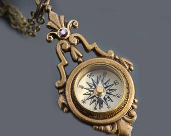 Steampunk Necklace Working Compass Necklace Brass Steampunk Compass Nautical Compass