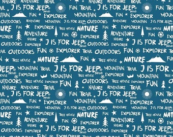 Jeep Fabric / J is For Jeep Fabric By Riley Blake. 100% cotton, C6464 / Yardage and Fat Quarters