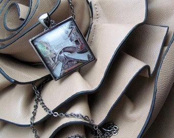 Pendant Necklace - Travel Necklace - Venice - Gondola - By Mixed Media Artist Malinda Prudhomme