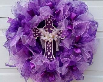 Religious Wreath,Purple Cross Wreath, Resurrection Wreath, Easter Wreath, Easter decor, Spring decor, All year decor
