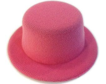 "5"" Fuchsia Pink Mini Flocked Felt Top Hats"