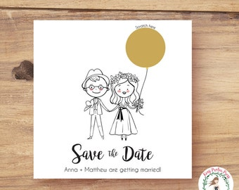 Unique Save the Date - Personalized Couple Portraits, Scratch off Save the Date, Custom Portrait Save the Dates, Scratch-off Save the Dates