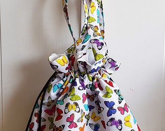 Large drawstring tote bag/ project bag