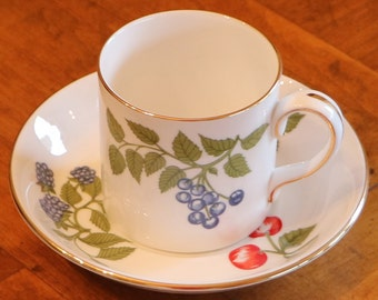 Crown Staffordshire Fruit Pattern English Fine Bone China Small Cup and Saucer Set