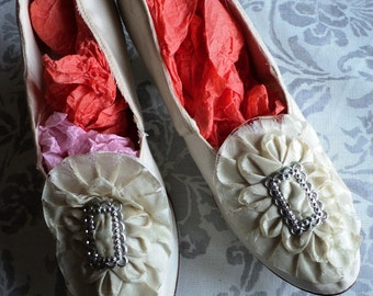 Edwardian/Turn of the Century Wedding Shoes Silver Buckles Ruffled Silk Collectible Display Only