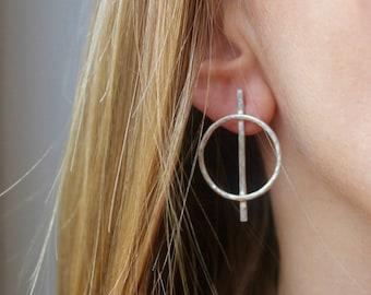 Sterling Silver Hoop Earrings, Silver Hoops, Statement Earrings, Unusual Earrings, Sterling Silver Earrings, Silver Jewelry