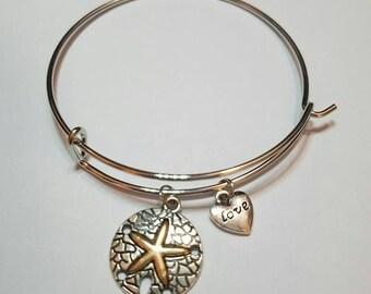 Alex and Kendra - Sand Dollar Charm Bangle Bracelet