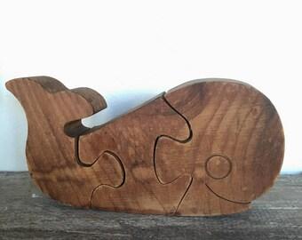 Mid Century Wood Whale Puzzle,  Vintage Handmade Wood Whale Sculpture, Mid Century Sculpture