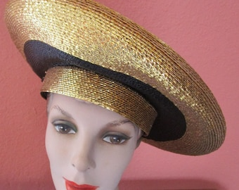 Shiny Gold Lurex Black Frank Olive Platter Straw Hat Derby Church Easter