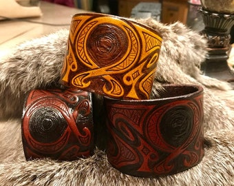 Leather Viking Cuff Bracelet of the Trolkors: Ward Against Trolls