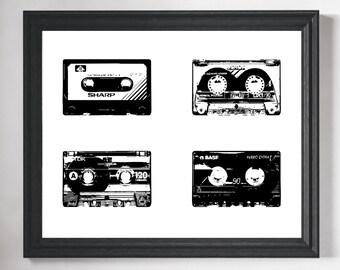 Cassette Tape Art Print, Retro Art, Retro Print, Hipster Art, Hipster Room Decor, Dorm Wall Art, Minimalist Art, Hipster Gift, Gifts for Him