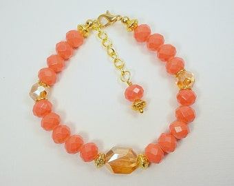 Coral and Gold Bracelet and Earring Set, Faceted Crystal and Glass Beads, Gold plated Metal Beads and Spacers