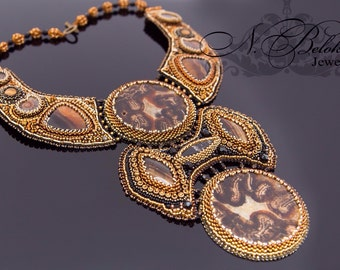 Massive fossil necklace beadembroidery. Beadwork woman collar. Embroidery bead jewelry. Ammonite, simbircite, fossil