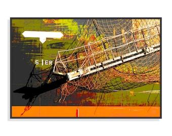 Original painting, Cargo, cut, netting, Port of Lorient, Digital Art, altered photography, fine art, print, wall decor