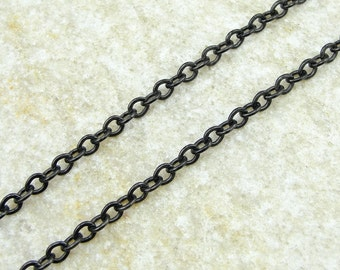Black TierraCast Chain - 4mm x 2.5mm Flat Link Cable Chain - Matte Black Chain for Necklaces and Jewelry   20-0125-13