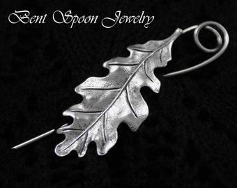 Silver Oak Leaf Shawl Pin, Fibula, Scarf Pin, Shrug Pin, Kilt Pin, BentSpoonJewelry