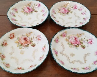Floral Rose China Berry Bowls with Green Trim and Gold Gilt Embellishment Set of 4 Small Bowls Embossed Bowls