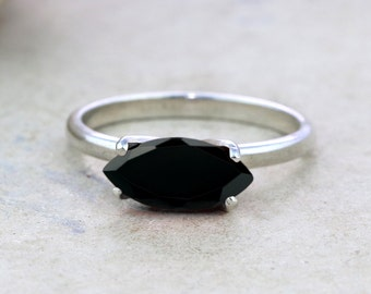 ETSY BIRTHDAY SALE - Black onyx ring,Black marquise ring,gemstone ring,silver ring,silver stacking ring,solitaire ring,black ring,stone ring