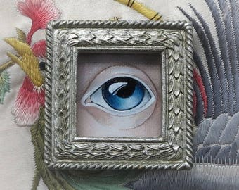 Blue Lover's Eye II, Original Painting Brooch.
