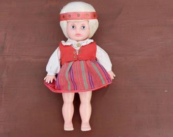 Vintage doll in national clothing Vintage dolls Vintage doll Soviet vintage doll Vintage toys Soviet plastic doll Folk doll