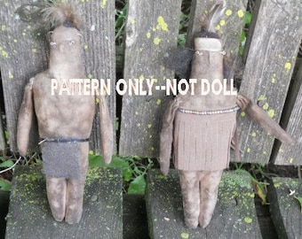 Primitive epattern-NOT DoLL, Native American Indians Ornament Doll 299e Crows Roost Prims epattern immediate download