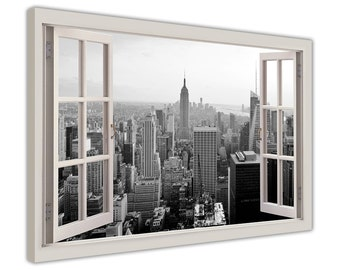 """Black and White New York City Pictures on a 3D Window Bay View Framed Canvas Art Wall Prints Artwork Poster Size: 40"""" X 30"""" (101CM X 76CM)"""