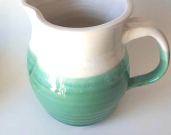 Pottery pitcher in white and seafoam green for juice or gravy home decor Valentine's gift