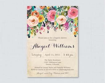 Pink Floral Lingerie Shower Invitation Printable or Printed