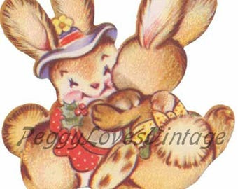 Easter 8 a Pair of Dancing Girl Bunnies a Digital Image from Vintage Greeting Cards - Instant Download
