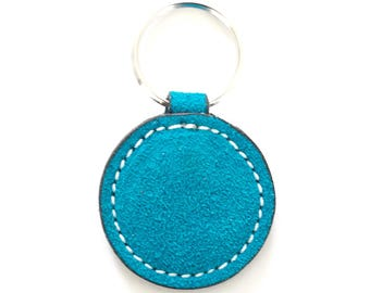 Turquoise Keychain,Leather Keychain,Suede Keychain,Key Holder,Gift for her,Birthday Gift,Round Keychain,Keychain,Key Fob,Blue Key Fob, Ocean