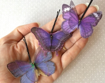 Handmade Butterfly Hair Bobby Pins in Violet Purple Cotton and Silk Organza Fabric - 3 pieces