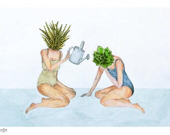 Succulent print, Succulent Art Print, Succulent Drawing, Botanical Print, Botanical Art Print, Plants Print, Succulent Art, Best Friend Art