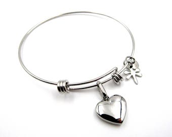 NEW Puffed Heart Charm - Adjustable Stainless Steel Bangle Bracelet (SSBR133)