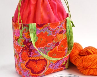 Drawstring Bag - Knitting Project Bag - Bucket Bag - Sock Knitting Bag - Bucket Tote - Crochet Project Bag - Lunch Bag - Gift for Her