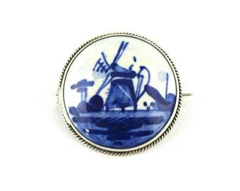 Brooch Blue Delft Porcelain Windmill Hallmarked