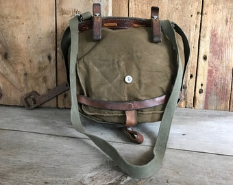 Swiss Army Bag, Green and Brown, Khaki Canvas and Leather, Backpack Rucksack