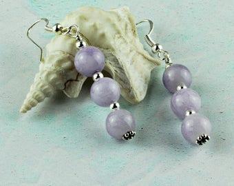 Jade Everyday Earrings. Purple Earrings for Women. Lavender Jade Sterling Silver. Earring Gift Idea. Pierced Ears. Dangly Jade Jewellery.