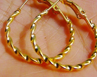 BEAUTIFUL EARRINGS round gold 25mm