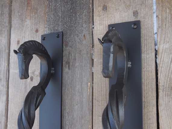 Set Of 2 Hand Forged Door Pulls (large), Horseu0027s Head, Blacksmith Made,  Wrought Iron, Steel Gate, Entrance Door Pull Handle, Square From  SiberianWroughtIron ...
