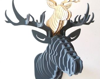 ALL COLORS BIG stag  natural Wooden Deer Head Trophy Birch Wood Head Wall Art  Animal wall decor  reindeer