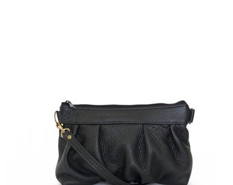 Ruche Crossbody Clutch in Onyx Black, Leather Clutch, Crossbody Clutch, Crossbody Bag, Clutch, Made to Order