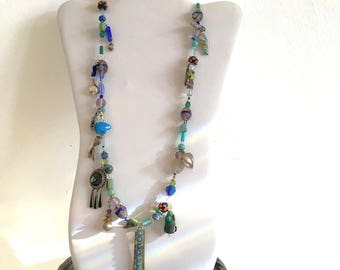 Boho Charm Necklace Sterling Silver, Stone, & Lampwork Glass Beads Handmade Necklace