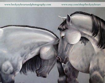 Percheron Horses Original Drawing
