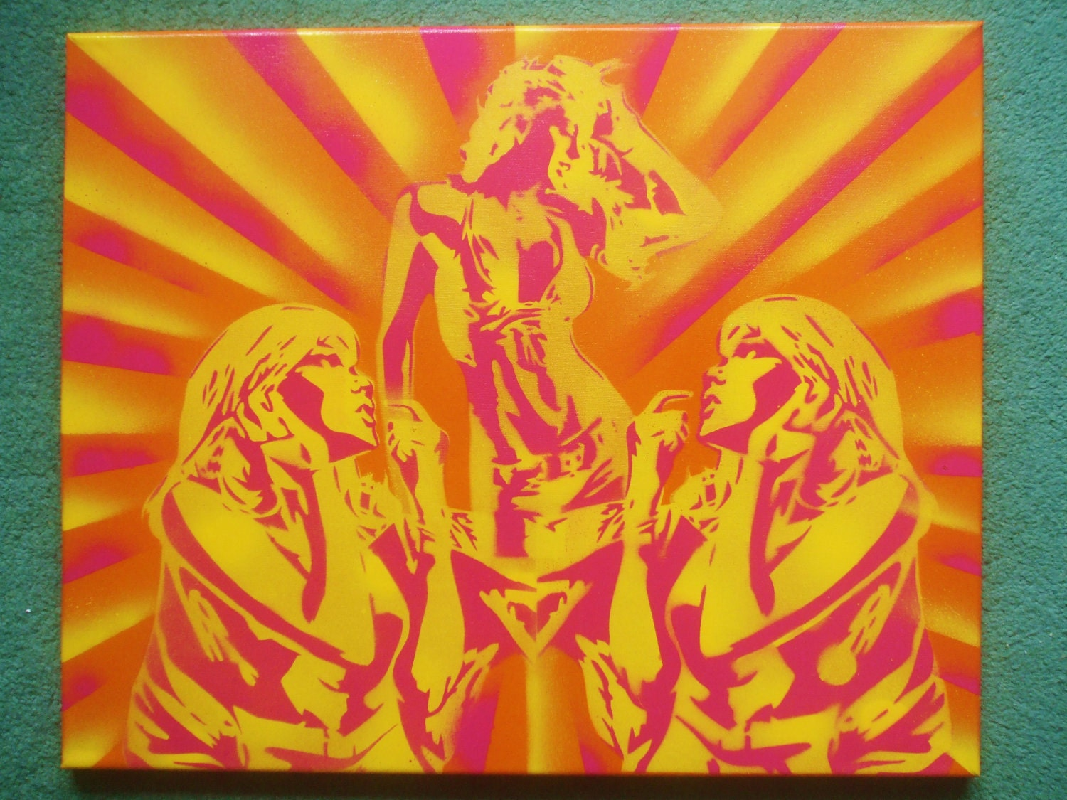 Disco dancer painting spray paint art stencil art canvas