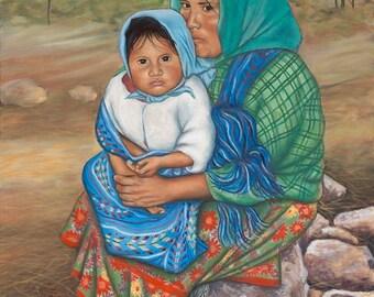 Raramuri (Tarahumara) Mother and Child Canvas Giclee Print