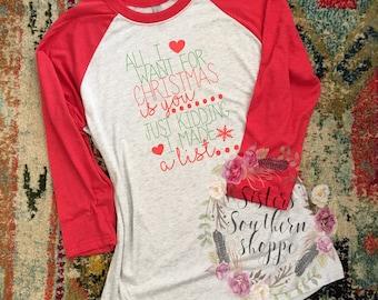 All I Want For Christmas Shirt, Christmas Shirt Women, Funny Christmas Shirts, Womens Shirts, Womens Raglan, Cute Christmas Shirt, Christmas