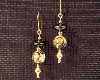 Gold-filled Leopardskin Jasper and Hematite Earrings