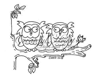 Tree Branch Owls  digital image