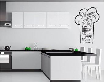 Chef's Hat Wall Decal, Kitchen Wall Decal, Chef's Hat Wall Sticker, Menu Wall Decal, Stickers For Kitchen, Wall Art For Home 050
